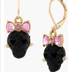 Betsey Johnson Bow Lace Skull Drop Earrings